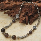 Natural Agate with Smoky Quatz Tibet Silver Handmade Necklace