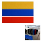 25 x 5cm 3-Color Car Reflective Decorative Stickers Decals for BMW Front Grill - Red + Yellow + Blue
