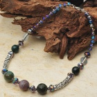 Natural Moss Agate with Austrian Crystal Tibet Silver Handmade Necklace