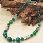 Emerald Sea Sediment Agate Tibet Silver Handmade Necklace