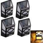 YouOKLight  2-LED 3000K Warm White Light Wall Mounted Solar Lantern / Fence Lamp (4pcs)