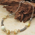 Unusual Lemon Agate with Smoky Quartz Tibet Silver Handmade Necklace