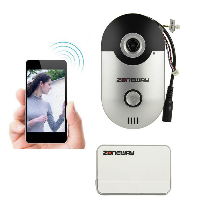 ZONEWAY Wi-Fi Doorbell System w/2.5mm Lens/Night Vision - Black + Grey