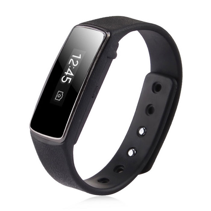 "Portable 0.91"" OLED Display Waterproof Bluetooth V4.0 Smart Bracelet Wristband w/ Pedometer - Black"