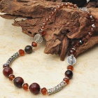 Natural Brown Agate with Austrian Crystal Tibet Silver Handmade Necklace