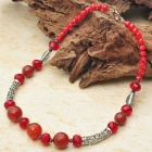 Natural Red Agate with Austrian Crystal Tibet Silver Handmade Necklace