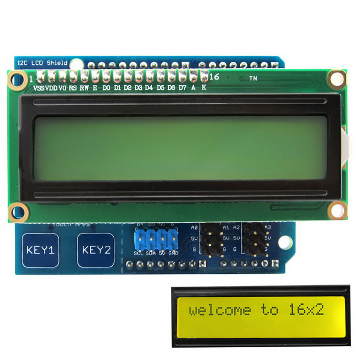 I2C LCD 1602 Shield Display Module for Arduino UNO / Mega2560Boards &amp; Shields<br>Form ColorYellow + Green + BlackModelN/AQuantity1 DX.PCM.Model.AttributeModel.UnitMaterialPCB + alloyEnglish Manual / SpecYesDownload Link   http://pan.baidu.com/s/1dD5z8opPacking List1 x I2C LCD Shield ( Yellow-Green )<br>
