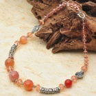 Natural Carnelian Agate with Austrian Crystal Tibet Silver Handmade Necklace