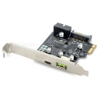 PCI-E to USB Expansion Card Board w/ USB Adapter - Black + Silver