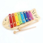 Lovely Wooden Fish Octave Hand Knock Piano Educational Toy for Children - Wood Color + Multicolor