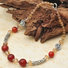 Dark Carnelian Agate with Citrine Quartz Tibet Silver Handmade Necklace