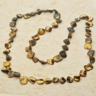 Long Natural Mother of Pearl Necklace (Tiger Eye Color)