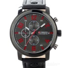 CURREN 8192 Men's PU Leather Analog Quartz Wrist Watch - Black + Red (1 x 626)