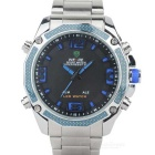 WEIDE WH-2306 Men's Stainless Steel LED Digital Quartz Analog Wrist Watch - Silver + Blue (1 x 626)