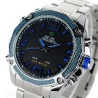 WEIDE WH-2306 Men's Stainless Steel LED & Analog Wrist Watch - Blue
