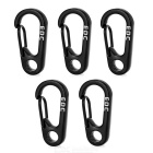 EDCGEAR D-Shaped Wire Gate Carabiner Buckle Keyring- Black (5PCS)