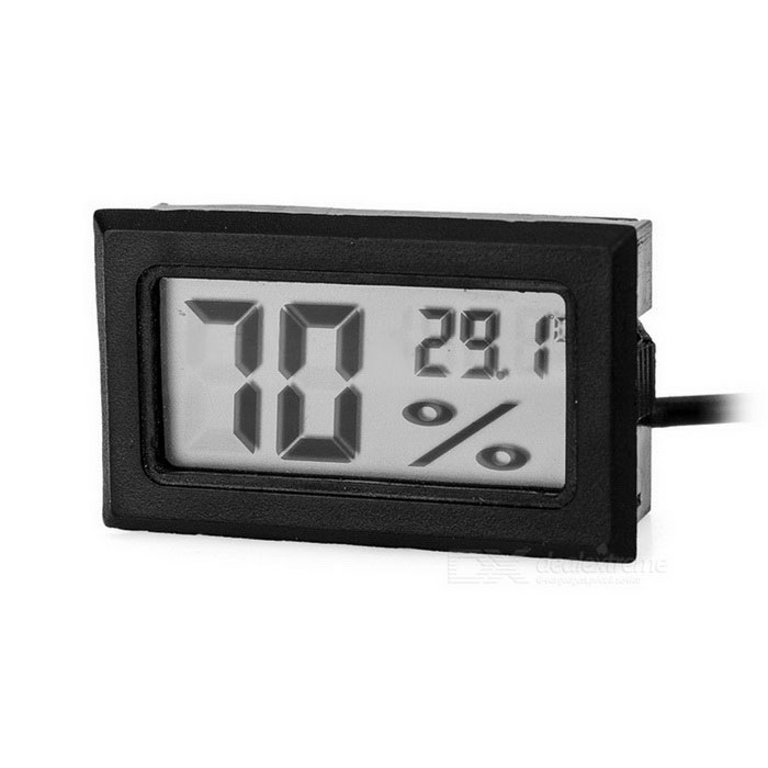 "1.6"" LCD Dual Display Thermometer / Hygrometer w/ 160cm Probe - Black"
