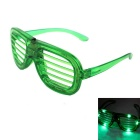 Green Light Emitting Grille Style Plastic Frame PVC Lens Glasses - Green