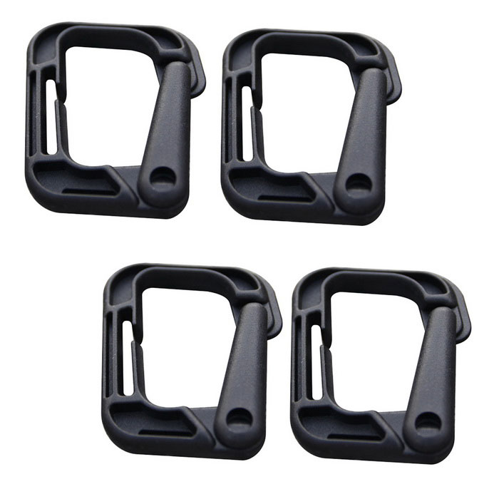 Portable de sport en plein air PVC d-ring verrouillage des mousquetons - noir (4PCS)