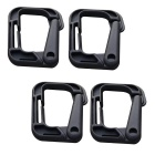 Portable Outdoor Sports PVC D-Ring Locking Carabiners - Black (4 PCS)
