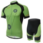XINTOWN 15XTCLWHDT Cycling Short Sleeves Jersey + Shorts Set - Green + Black (XL)