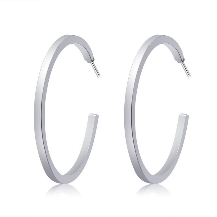 Stylish Women's Big Loop Earrings - Silver (Pair)