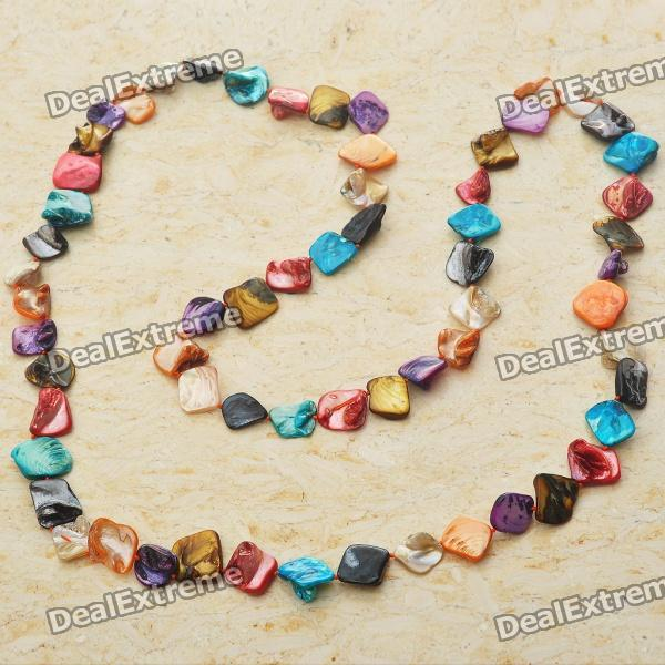 Long Natural Mother of Pearl Necklace (Multicolor) long natural mother of pearl necklace tiger eye color