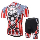 XINTOWN Outdoor Cycling Polyester + Spandex Short Sleeves Jersey + Shorts Set - Black + Red (L)