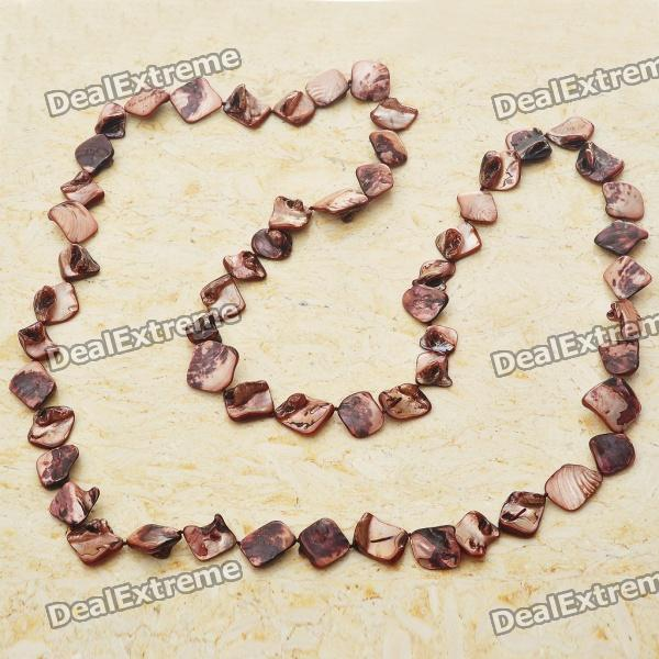 Long Natural Mother of Pearl Necklace (Brown) long natural mother of pearl necklace tiger eye color