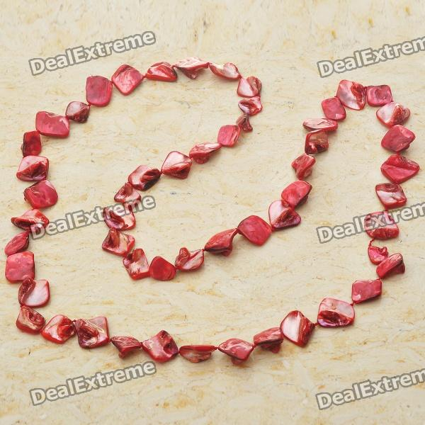 Long Natural Mother of Pearl Necklace (Scarlet Red) long natural mother of pearl necklace tiger eye color