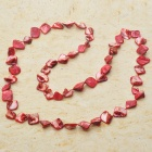 Long Natural Mother of Pearl Necklace (Scarlet Red)