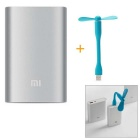 Xiaomi 3.6V 10000mAh USB Mobile Power Source Bank w/ 4-LED + USB Flexible Mini Fan - Blue + Silver