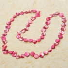 Long Natural Mother of Pearl Necklace (Magenta)