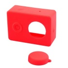 PANNOVO Protective Silicone Shell Case + Lens Cap Set for XIAOMI Xiaoyi - Red