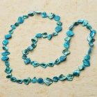 Long Natural Mother of Pearl Necklace (Swiss Blue)