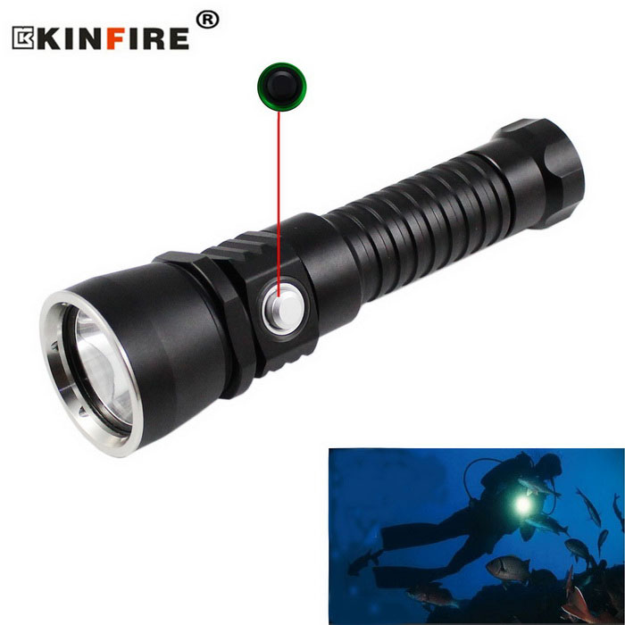KINFIRE S180 XM-L2 1-LED 930lm Dimming Diving Flashlight - BlackDiving Flashlights<br>Form  ColorBlackQuantity1 DX.PCM.Model.AttributeModel.UnitMaterialAluminum alloyEmitter BrandOthers,N/ALED TypeXM-L2Emitter BINU2Color BINCold WhiteNumber of Emitters1Theoretical Lumens1100 DX.PCM.Model.AttributeModel.UnitActual Lumens930 DX.PCM.Model.AttributeModel.UnitPower Supply1 x 18650 Battery (not included)Working Voltage   3.7~4.2 DX.PCM.Model.AttributeModel.UnitCurrent1980 DX.PCM.Model.AttributeModel.UnitRuntime3~4 DX.PCM.Model.AttributeModel.UnitNumber of Modes1Mode ArrangementOthers,Stepless DimmingMode MemoryNoSwitch TypeReverse clickySwitch LocationHeadLens MaterialOptical lensesReflectorAluminum SmoothWorking Depth Underwater170 DX.PCM.Model.AttributeModel.UnitStrap/ClipStrap includedOther FeaturesLong press the switch to adjust the brightness from low to highPacking List1 x Diving flashlight 1 x Strap (20cm)<br>
