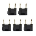 Jtron 4mm Double Banana Plugs Nickel-Plated Stereo Plugs - Black (5 PCS)