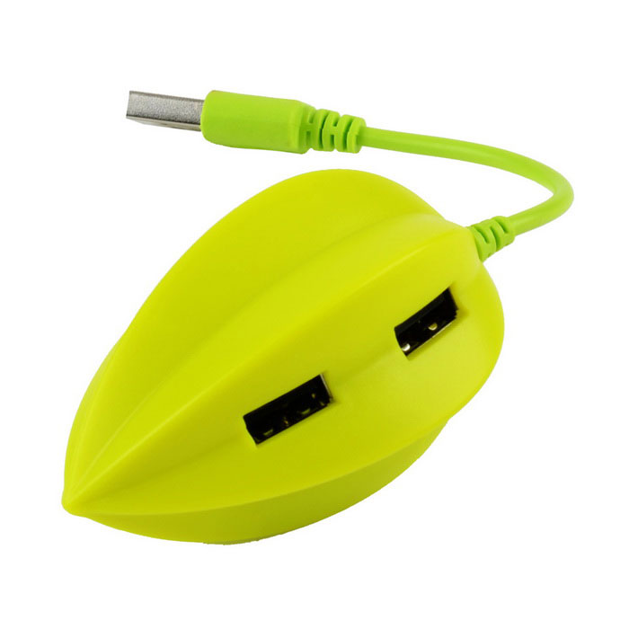 Cute Carambola Style 480Mbps 4-Port USB 2.0 HUB - Apple Green