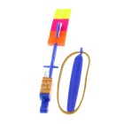 LED Light-up Flying Rubberband Slingshot Helicopter Rocket Toy - Blue + Deep Pink + Multi-Color