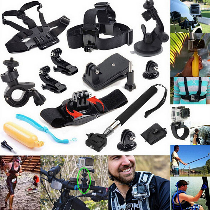 13-in-1 Camera Accessories Kit for GoPro Hero Series, SJ5000 - BlackOther GoPro Accessories<br>Form  ColorBlack + YellowQuantity1 DX.PCM.Model.AttributeModel.UnitMaterialPlasticShade Of ColorBlackOther FeaturesSuitable for GoPro Hero series / SJ4000 / SJ5000 / SJCam / XiaoyiPacking List1 x Chest strap1 x Headband1 x Suction mount1 x Bike mount2 x J-mounts1 x Backpack clip1 x Rotary strap1 x fFloating mount1 x monopod2 x Adapters1 x Bag<br>