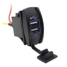 12-24V 3.1A Waterproof Blue Light Motorcycle Car 5V Dual USB Power Supply Charger Port Socket