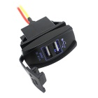 12-24V Waterproof Blue Light Motorcycle Car Dual USB Charger - Black