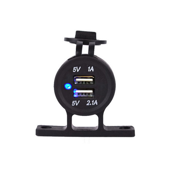 2.1A / 1A 12-24V Dual USB Charger Adapter for Motorcycles - BlackCar Power Chargers<br>Form  ColorBlackModelN/AQuantity1 DX.PCM.Model.AttributeModel.UnitMaterialABSShade Of ColorBlackInput Voltage12~24 DX.PCM.Model.AttributeModel.UnitOutput Voltage5 DX.PCM.Model.AttributeModel.UnitOutput Current2.1/1 DX.PCM.Model.AttributeModel.UnitInterfaceUSBApplicationSuitable for motorcycle, scooters, car, etcPacking List1 x Charger Adapter1 x Bracket1 x Fixed Ring<br>