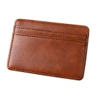 Men's Multi-functional Magic PU Card Holder Mini Wallet - Light Brown