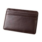 Men's Multi-functional Magic PU Leather Card Holder Mini Wallet - Dark Brown