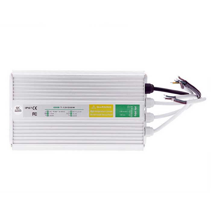 DC 12V 16.5A 200W IP67 Waterproof Switching Power Supply - Silver Grey