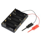 6 x 1.5V 6-Slot AA Battery Holder w/ Test Probe for Arduino - Black + Red