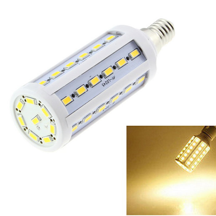 E14 9W LED Corn Bulb Lamp Warm White Light 3000K 1200lm 42-SMD - White
