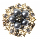 Elegant Adjustable Pearl Flower Ring - Davy's Grey