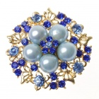Elegant Adjustable Pearl Flower Ring - Sapphire Blue